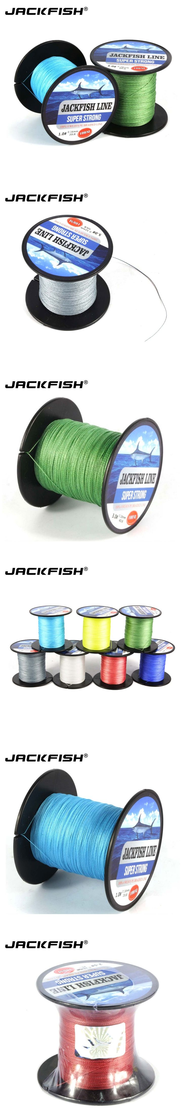 JACKFISH 4 strand 100M PE Braided Fishing Line 10-80LB 7Color Multifilament Fishing Line black Wire coil  Carp Fishing Saltwater