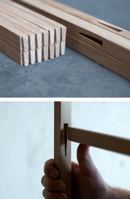 technique detail from Knock down-cloth rack by Jakob Jørgensen