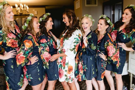 SALE: Navy and White Floral Bridesmaids Robes Bridesmaid