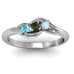 Three Stone Bypass Swirl Ring