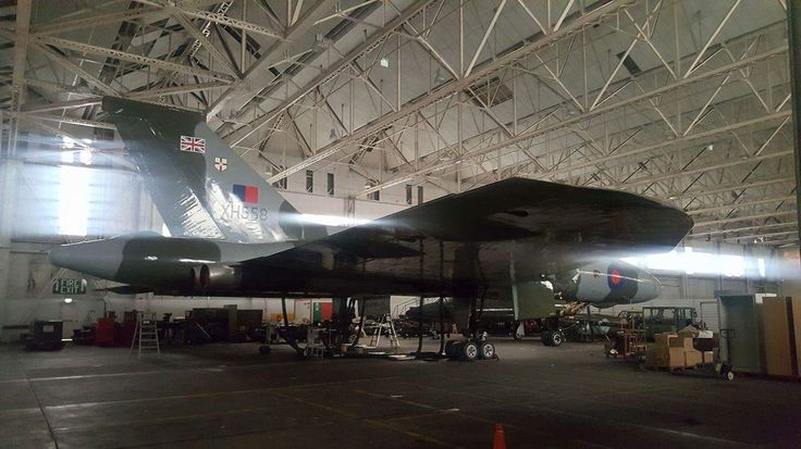 Avro Vulcan XH558 in the hangar with bright sunshine streaming through .... time to wake her up!