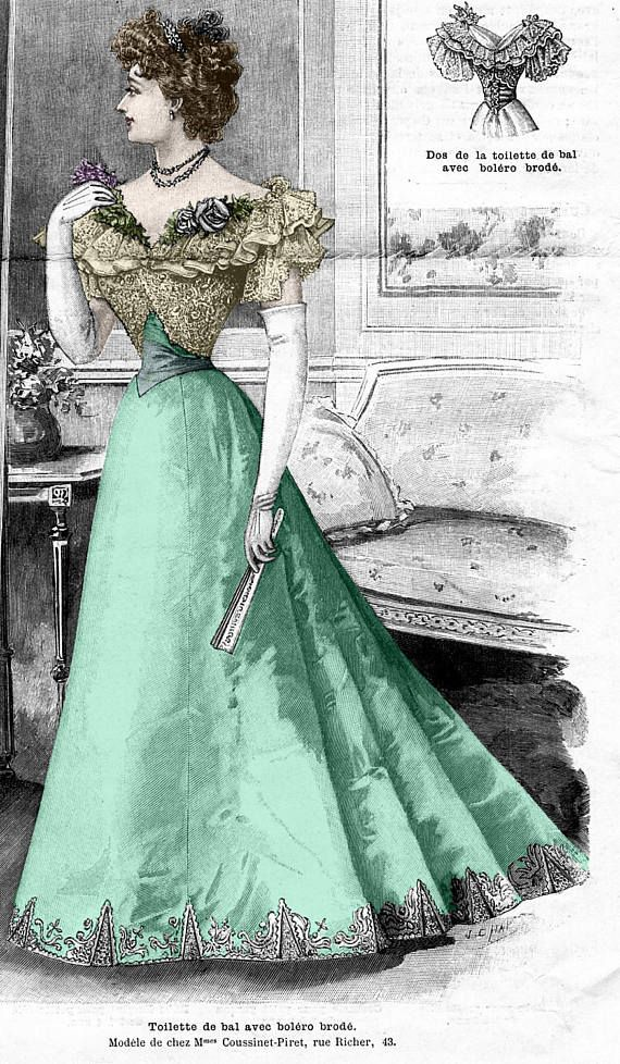 1896 Victorian Ballgown with bolero jacket pattern  sized for