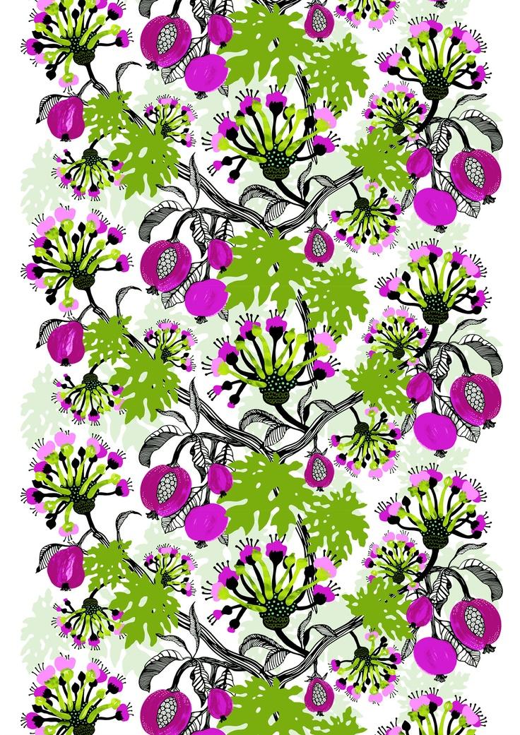 Papaija curtain green by Tanja Orsjoki   Cotton 83%, polyester 17%