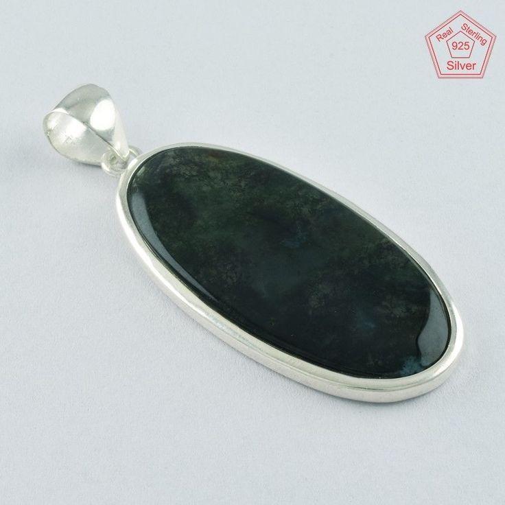 Classic Moss Agate Stone 925 Sterling Silver Pendant P4748 #SilvexImagesIndiaPvtLtd #Pendant