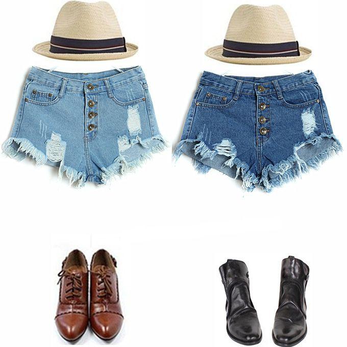 2014 летом европейский стиль дыра была тонкой талии джинсовые шорты шорты потерять большие ярдов грудью женщина вспышку - Taobao