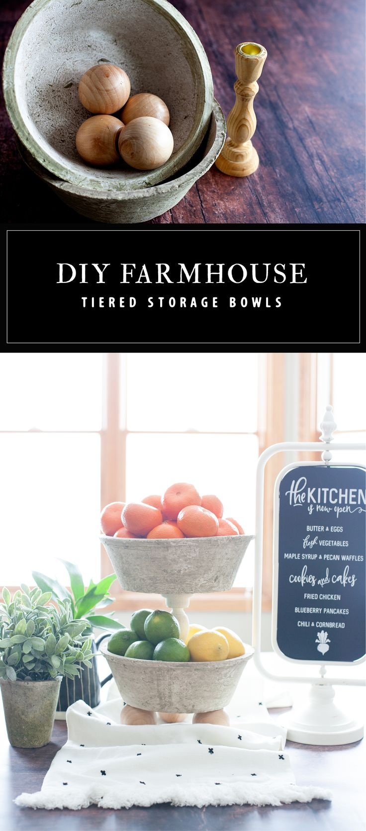 DIY Farmhouse Tiered Bowls are easy as pie to make thanks to @michaels. Normally a costly buy, these tiered bowls won't break the bank and they are super easy to make. A great storage option for either the kitchen or the office! Come on over to WhipperBerry to learn how to make one for your home.