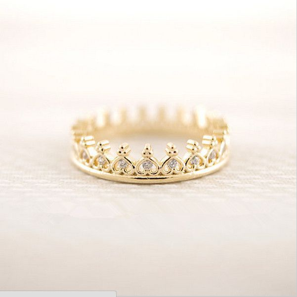 Fashion unique small crown ring ring gold plated ring only sell the best European and American style ring present women