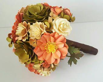 Papier Bouquet - mariage rustique de mariage - papier fleur Bouquet - hortensias - Roses - automne - octobre mariage - prêt à être expédier