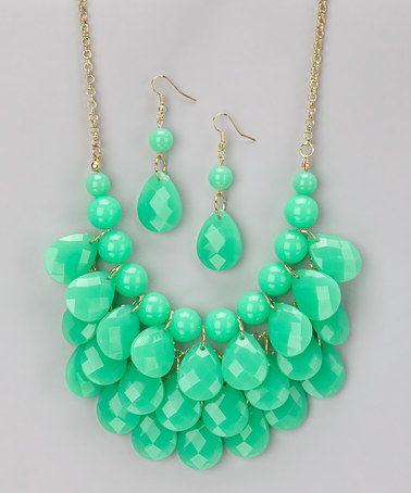 Love this Jade Green Waterdrop Necklace & Earrings on #zulily! #zulilyfinds