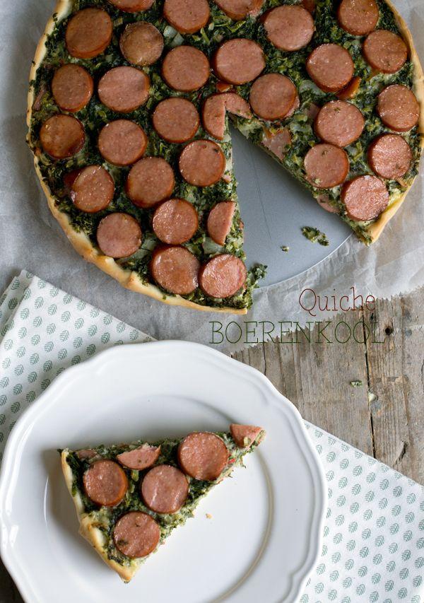 Küche - Kochen im Herbst/Winter - Grünkohlquiche mit Wurst - Rezept - - - - Quiche met boerenkool txt
