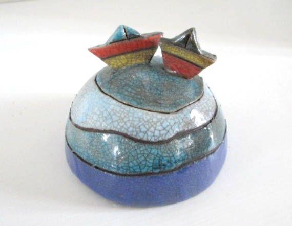 Scatola ceramica sfera Scatola barchette Sfera ceramica raku