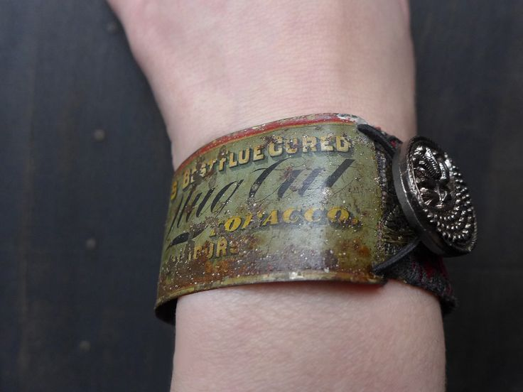 """Rustic artisan bracelet with salvaged tin. Mixed media assemblage art- """"Scribe of Fools"""" by fancifuldevices on Etsy https://www.etsy.com/listing/494541316/rustic-artisan-bracelet-with-salvaged"""