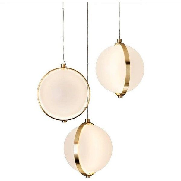 Orion Pendant ($1,344) ❤ liked on Polyvore featuring home, lighting, ceiling lights, chandeliers, white, low voltage cable lighting, sphere lights, low voltage lighting, golden lighting and orb chandelier lighting