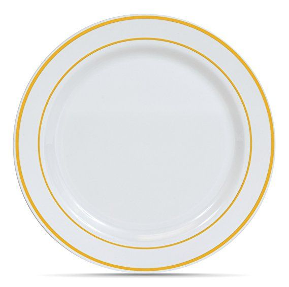 Select Settings 50 10 25 Inch White With Gold Rim Plastic Disposable Dinner Plates Disposable Plastic Plates Dinner Plates Plastic Plates