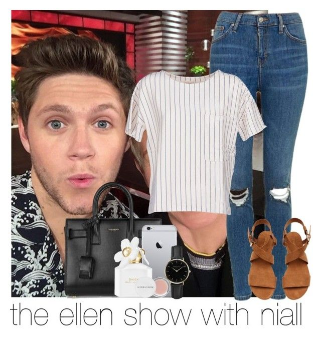 """the ellen show w niall"" by awk0cass ❤ liked on Polyvore featuring Topshop, BELLEROSE, Yves Saint Laurent, ROSEFIELD, Marc Jacobs and Herbivore"