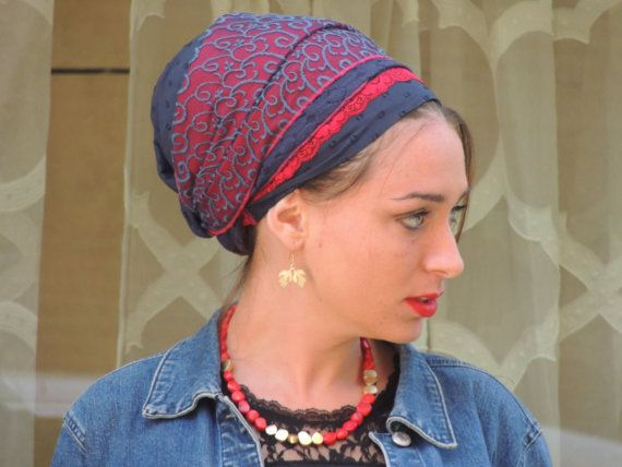 Blau rot Tichel Haar Snood Kopftuch Kopf abdeckt jüdische
