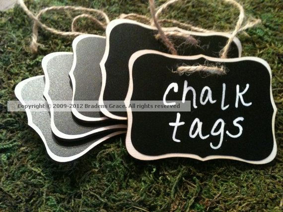 Sale-Fancy Wood Chalkboard Labels - set of 4 - Basket Labels, Chalkboard Tags, Wedding Chalkboards, Rustic Wedding on Etsy, $11.90