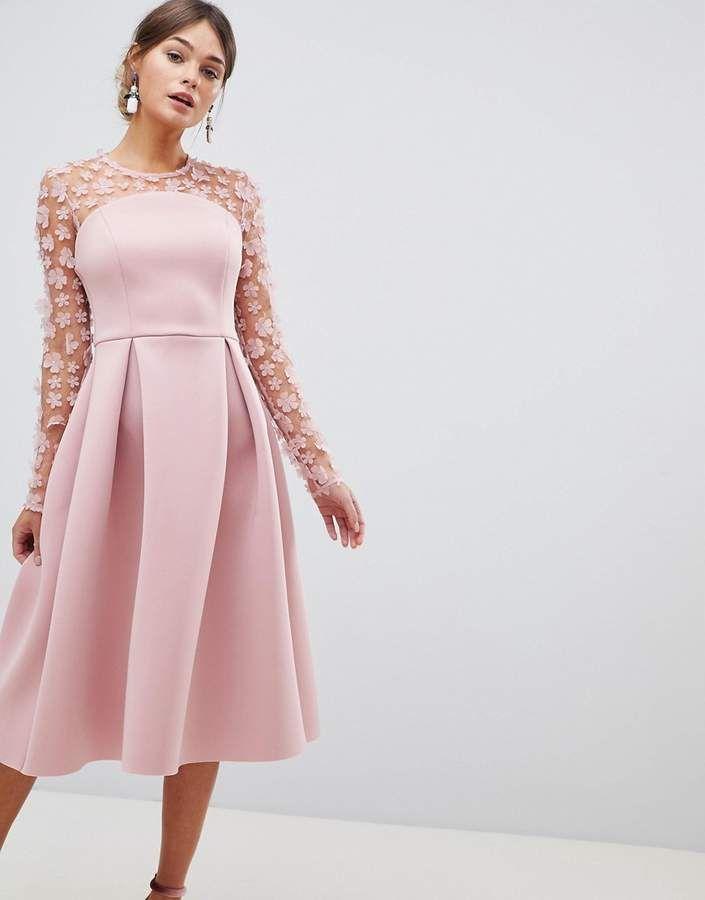 8d9db71bc4 ASOS DESIGN 3D floral lace bandeau scuba prom midi dress