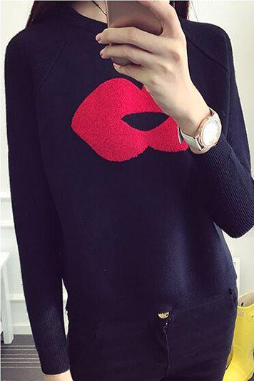 Lip Pattern Splicing Pullover Short Loose Sweater