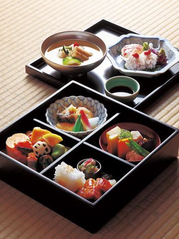 Bento, Japanese boxed lunch, in Kyoto, Japan