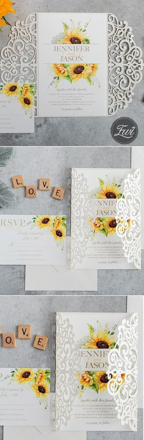 Graceful sunflower rustic wedding invitation with white
