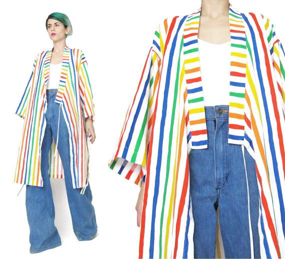 Vintage 80s Striped Kimono Rainbow Printed Cotton by honeymoonmuse
