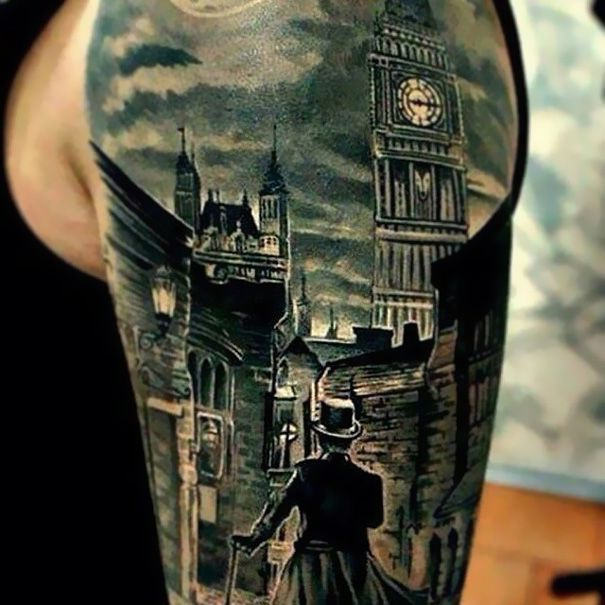 Sherlock Holmes Tattoo: That is ART on an arm, I wish I could draw like that!