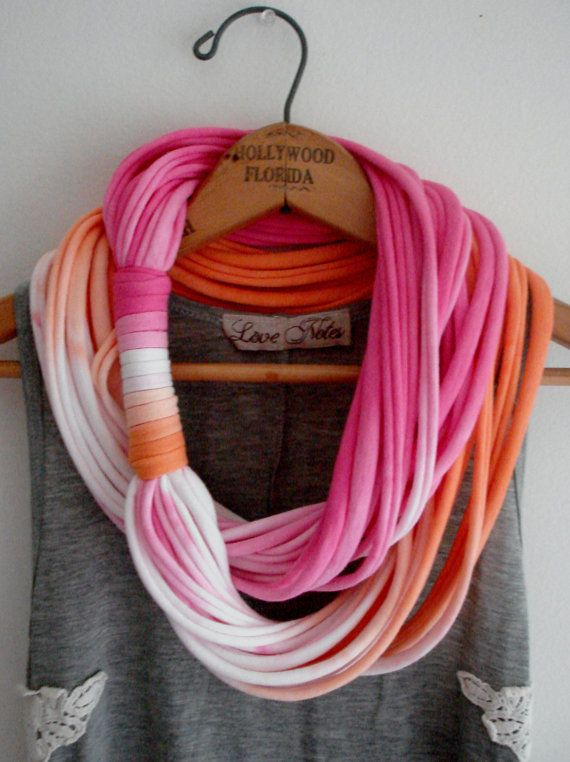 pink neon ombre multi string infinity scarf!