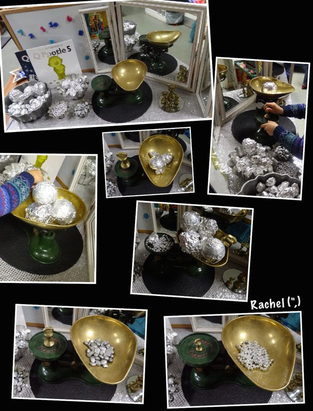 """Weighing and balancing 'moon rocks' and 'asteroids' - from Rachel ("""",)"""