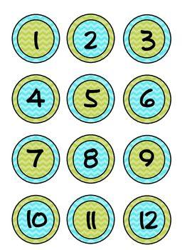 Lime, Aqua blue Chevron Student / Classroom Number Circles