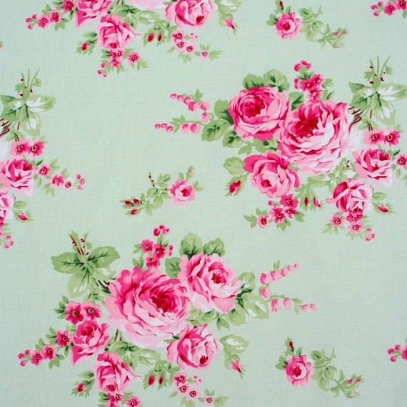 Quilting Fabric  Tanya Whelan  Barefoot Roses  Green by Autrefois
