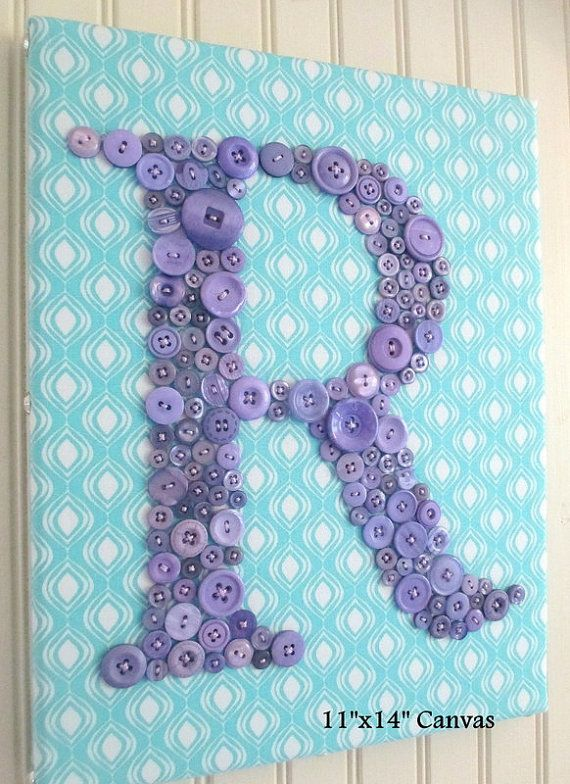 Nursery Wall Art, Lavender Button Letter, Personalized Kids Wall Art, Button Art, Toddler Gift, Nursery Art Canvas or Ready-to-Frame  Handmade and one-of-a-kind, the perfect piece of letter art when you want something special for your little one.  Custom Orders -- Please Read: This listing is for a lavender button letter on a cotton, linen or burlap of your choice (not silk) on a thin ready-to-frame canvas panel or a thicker canvas you hang directly on the wall. See sizes available in…
