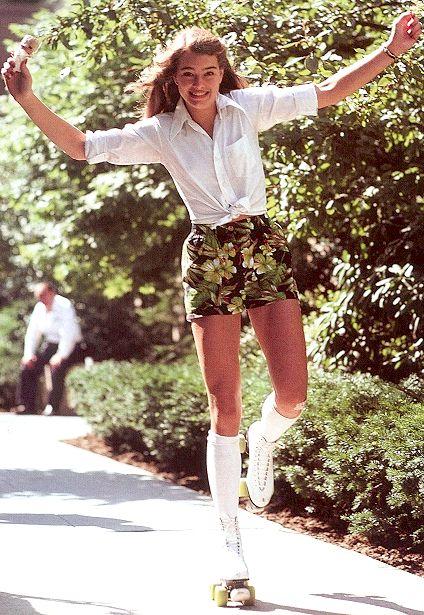 Brooke Shields rollerskating in Central Park, 1979