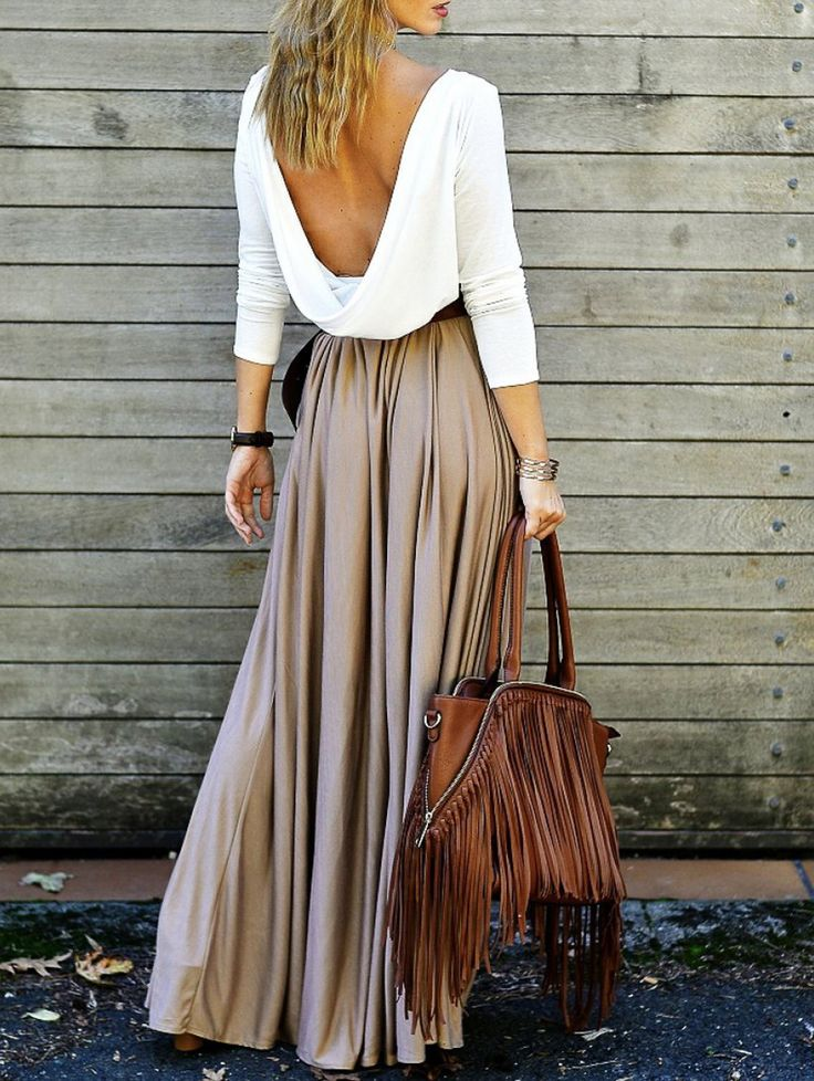 Looks I LOVE! Alluring Long Sleeve Maxi Draped Open Back Maxi Dress #Sexy #Open_Back #Maxi_Dresses