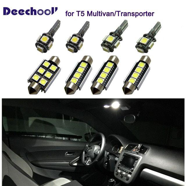 Deechooll 18pcsx Car Led Bulb For Vw T5 Multivan Canbus Auto Accessories Interior Light For Transporter T5 Re Lamp Light Car Interior Accessories Dome Lighting