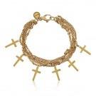 Pulsera de cadenas con cruces en plata de ley recubierta de oro amarillo de 18  kilates.