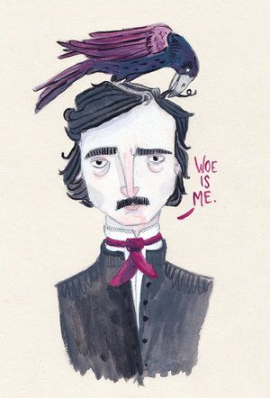 Edgar Allan Poe. This portrait is full of woe and ravens.