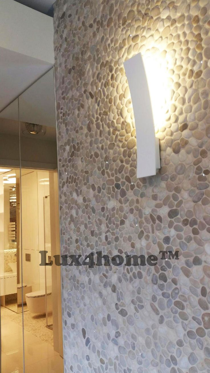 Luxury apartment with #Pebble #Tiles on walls. #Beige Pebble Tiles Maluku Tan - Lux4home™. Pebble Tiles in #Livingroom. We are looking for importers, dealers, bathroom shops, e-shops, interior designers to cooperation. #pebblemosaic #pebbletiles #stonemosaic #pebblewall