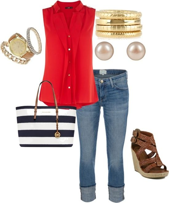 Love the pop of red to make the outfit exciting.