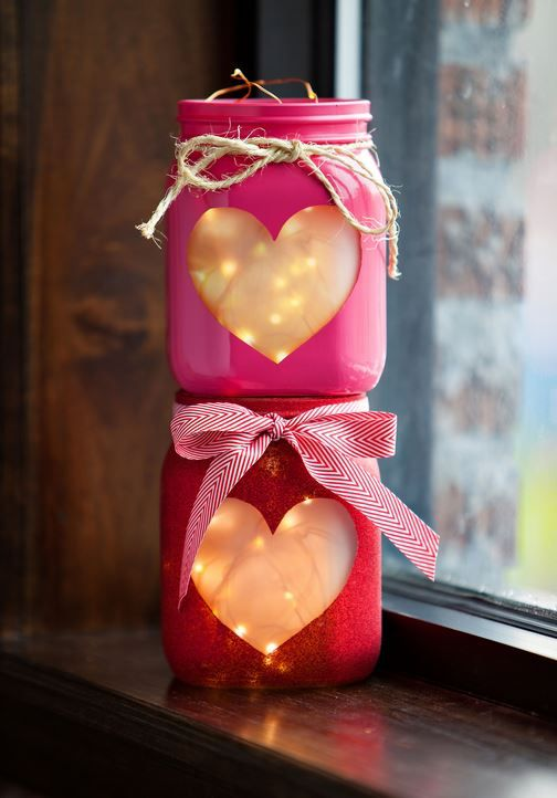 Pretty for Valentine's Day. 20-minute DIY Project. Copper Wire Lights inside heart shaped mason jars