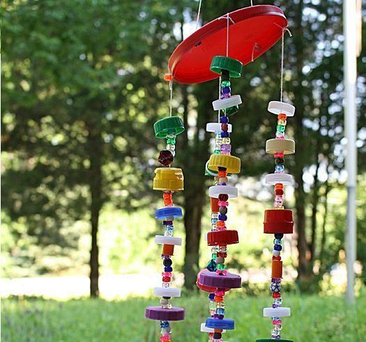Bottle Cap Art Wind Chime | AllFreeKidsCrafts.com