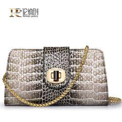 Online Shop Роскошный глянцевый бренды дизайнеры вечерняя сумочка женская клатч высокое качество кожаные сумки крокодил серпантин цепи сумки Aliexpress Mobile