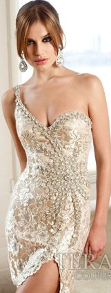 Terani One Shoulder Sequined Sweet-heart Neckline Side-clasped Dress.