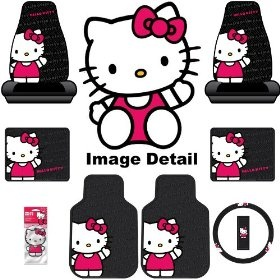 Hello Kitty Sanrio Waving Auto Car Truck SUV Accessories Interior Combo Kit Gift Set