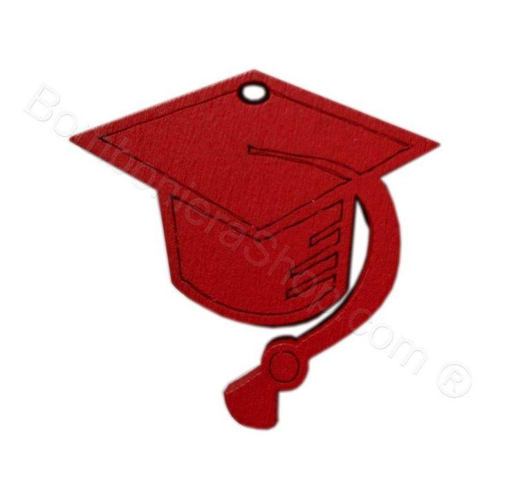 Tocco laurea in legno colore rosso