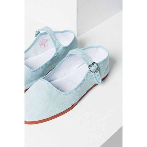 Twill Mary Jane Flat ($18) ❤ liked on Polyvore featuring shoes, flats, rubber sole shoes, maryjane flats, flat pumps, indigo shoes and mary-jane shoes