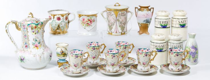 Lot 364: Japanese and German Ceramic Assortment; Including a Japanese shaker assortment, a Nippon landscape painted vase, a Hutschenreuther Art Nouveau style jar, a Roseville peony pitcher and unmarked planters, a demitasse set and a hand painted bowl