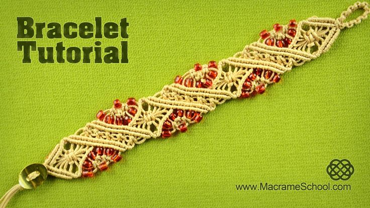 Macramé Diamond Stripe Bracelet Tutorial by Macrame School