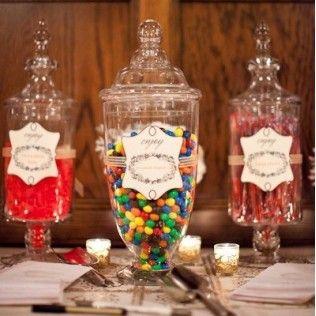 Bocal en verre pour présentation de sucreries et friandises