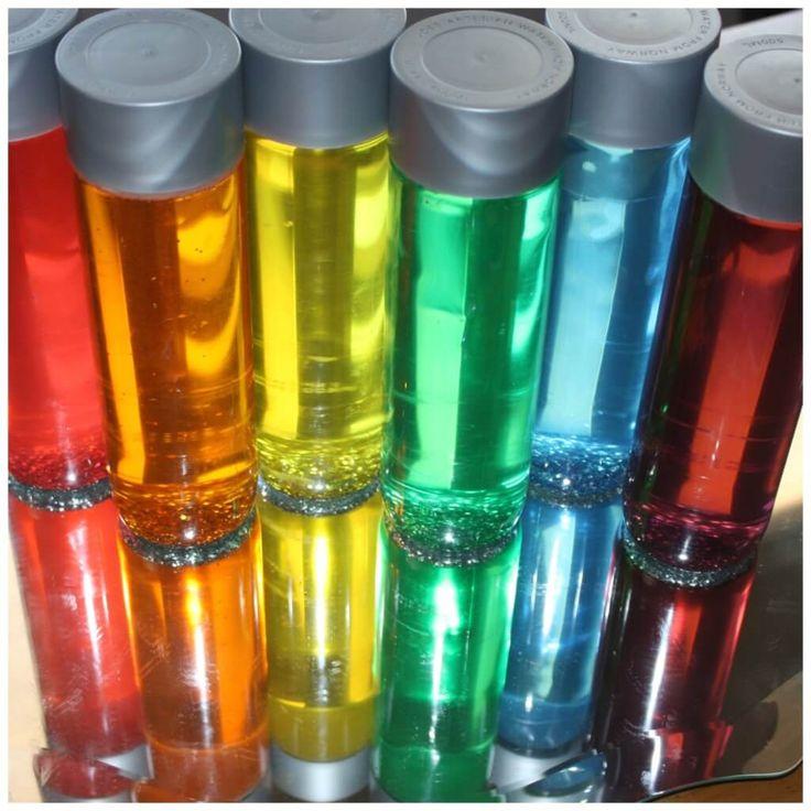 Color Play Mirror Play Rainbow Sensory Bottles Reflection